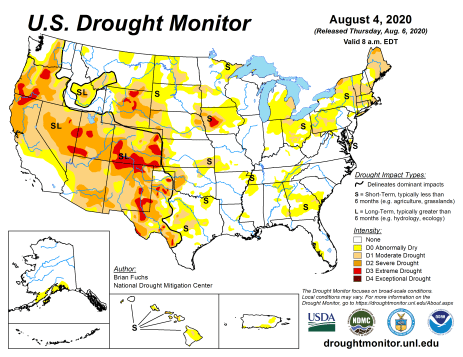 US Drought Monitor August 4, 2020.