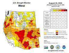 West Drought Monitor August 25, 2020.
