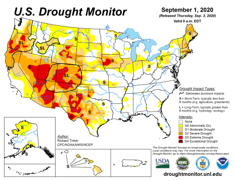 US Drought Monitor September 1, 2020.