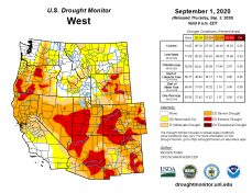 West Drought Monitor September 1, 2020.