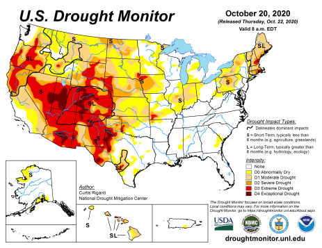 US Drought Monitor October 20, 2020.