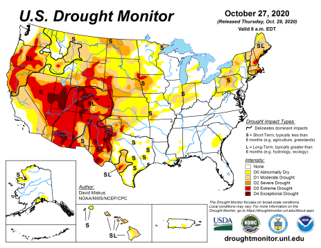 US Drought Monitor October 27, 2020.
