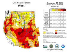"West Drought Monitor September 29, 2020. The most recent Colorado drought map shows a portion of Garfied, Mesa and Delta counties in ""exceptional"" drought, shown in the darkest shade. Eagle County, just east of the top portion of the darkest shade, is in ""extreme"" drought, along with the rest of the Western Slope."