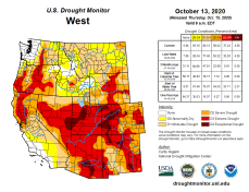 West Drought Monitor October 13, 2020.