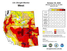 West Drought Monitor October 20, 2020.