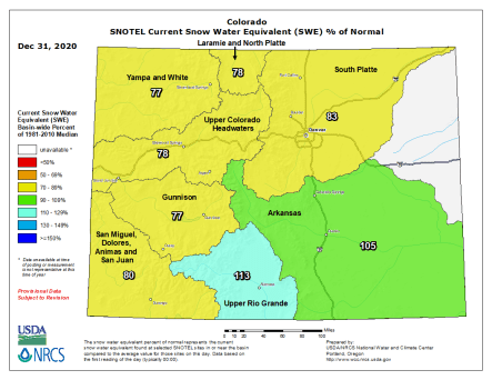 Colorado SNOTEL basin-filled map December 31, 2020 via the NRCS.