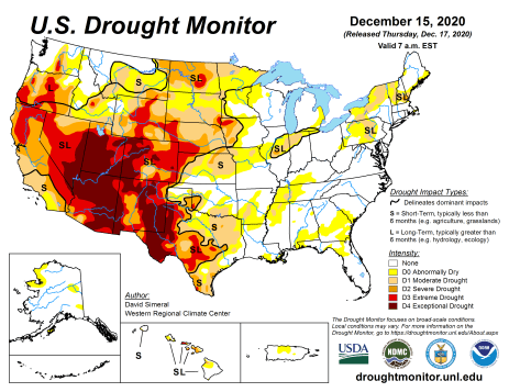 US Drought Monitor December 15, 2020.