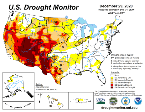 US Drought Monitor December 29, 2020.