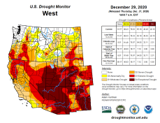West Drought Monitor December 29, 2020.