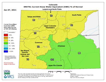 Colorado snowpack basin-filled map January 7, 2021 via the NRCS.