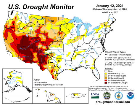 US Drought Monitor January 12, 2021.