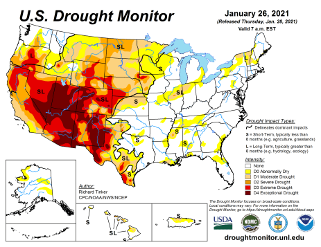 US Drought Monitor January 26, 2021.