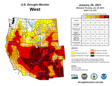 West Drought Monitor January 26, 2021.