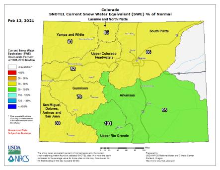 Colorado snowpack basin-filled map February 12, 2021 via the NRCS.