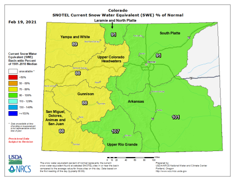 Colorado statewide snowpack basin-filled map February 19, 2021 via the NRCS.