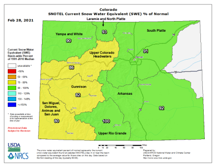 Colorado snowpack basin-filled map February 28, 2021 via the NRCS.