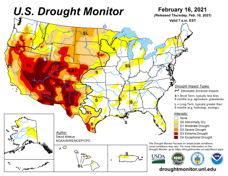US Drought Monitor February 16, 2021.