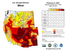 West Drought Monitor February 9, 2021.