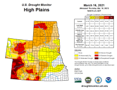 High Plains Drought Monitor March 16, 2021.