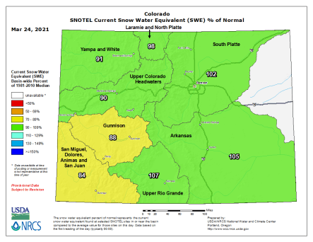 Colorado statewide snowpack basin-filled map March 24, 2021 via the NRCS.