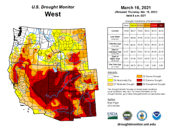West Drought Monitor March 16, 2021.