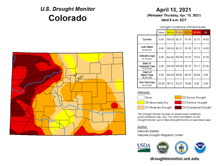 Colorado Drought Monitor April 13, 2021.