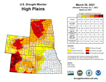 High Plains Drought Monitor March 30, 2021.