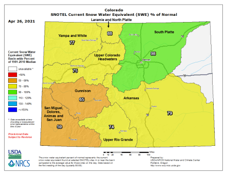 Statewide snowpack basin-filled map April 26, 2021 via the NRCS.