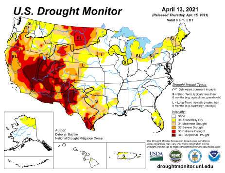 US Drought Monitor April 13, 2021.