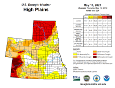 High Plains Drought Monitor map May 11, 2021.