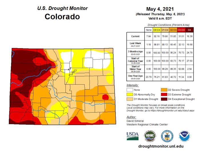 Colorado Drought Monitor map May 4, 2021.