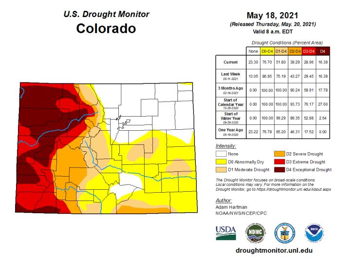Colorado Drought Monitor map May 18, 2021.