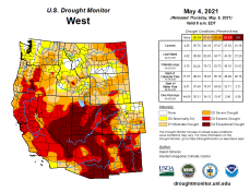 West Drought Monitor map May 4, 2021.