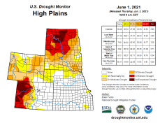 High Plains Drought Monitor map June 1, 2021.