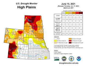 High Plains Drought Monitor map June 15, 2021.