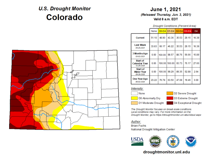 Colorado Drought Monitor map June 1, 2021.
