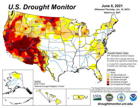 US Drought Monitor map June 8, 2021.