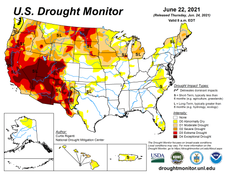 US Drought Monitor map June 22, 2021.