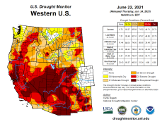 West Drought Monitor map June 22, 2021.