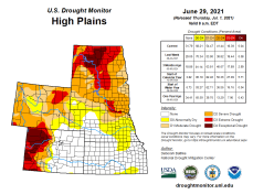 High Plains Drought Monitor map June 29, 2021.
