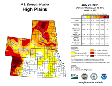 High Plains Drought Monitor map July 20, 2021.