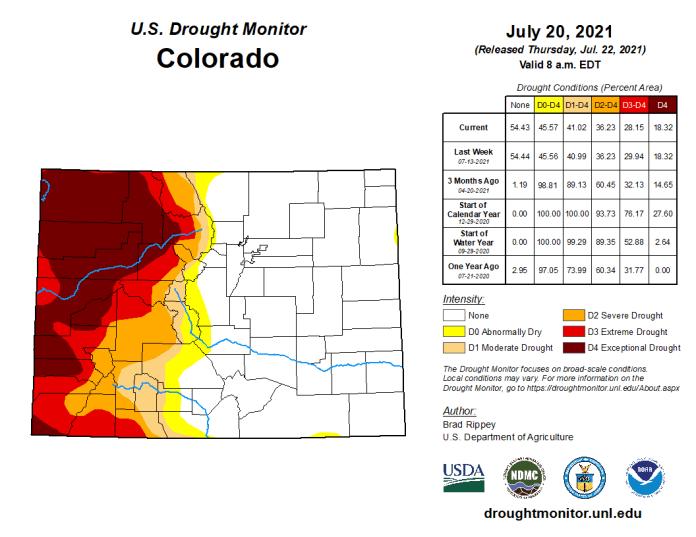 Colorado Drought Monitor map July 20, 2021.