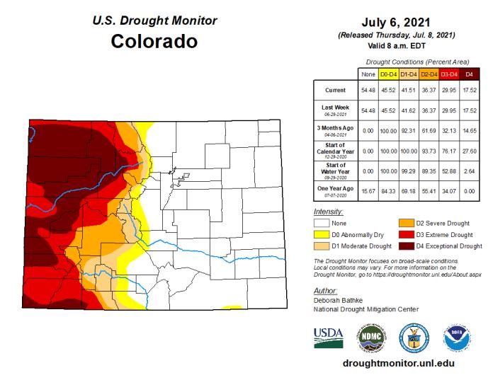 Colorado Drought Monitor map July 6, 2021.