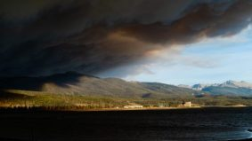 Smoke from the East Troublesome fire looms over Granby Reservoir. Photo credit: Evan Wise via Water for Colorado