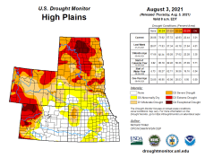 High Plains Drought Monitor map August 3, 2021.