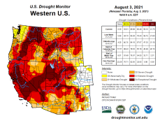 West Drought Monitor map August 3, 2021.