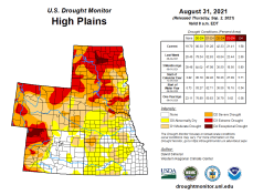 High Plains Drought Monitor map August 31, 2021.
