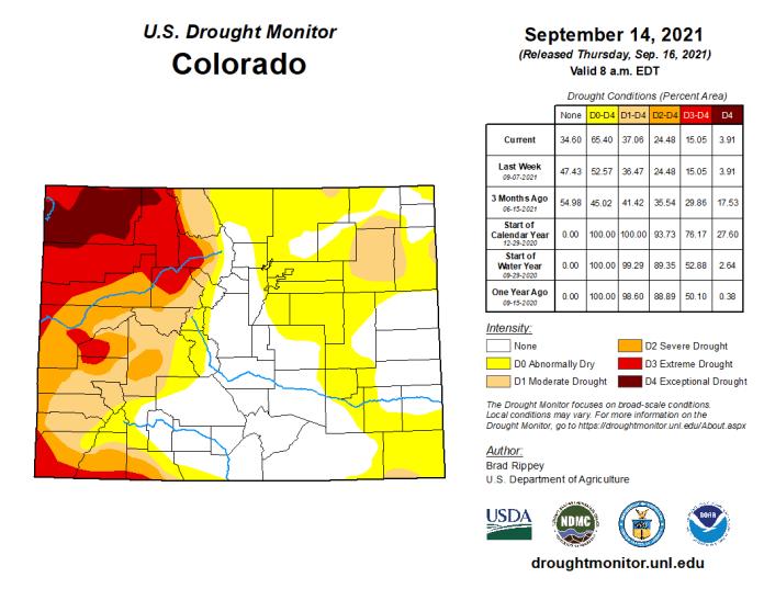 Colorado Drought Monitor map September 14, 2021.
