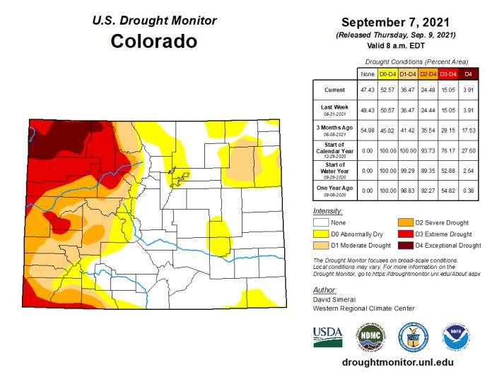 Colorado Drought Monitor map September 7, 2021.