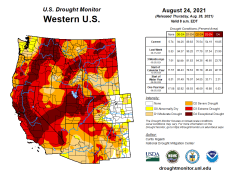 West Drought Monitor map August 31, 2021.